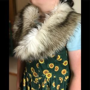 Luxury 1980'sFox Fur Fluff Collar Shawl Wrap Scarf